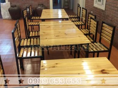 Bộ bàn ghế mặt gỗ thông chân sắt S3