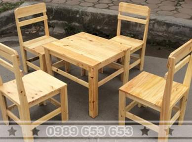 Bộ bàn ghế gỗ thông pallet BG001