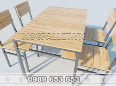 Bộ bàn ghế mặt gỗ thông chân sắt BGS106