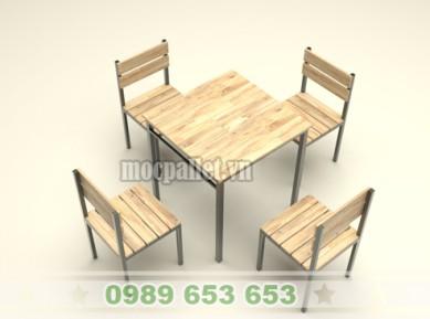 Bộ bàn ghế chân sắt mặt gỗ thông pallet S2