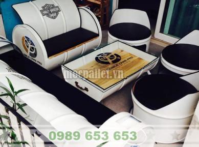 Bộ bàn ghế thùng phi sắt TP02