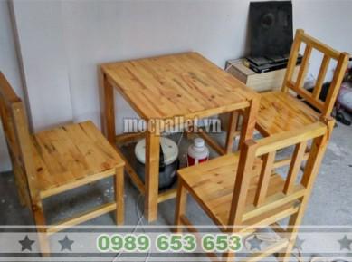 Bộ bàn ghế gỗ thông đẹp BG74