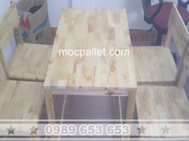 Bộ bàn ghế gỗ thông pallet BG79