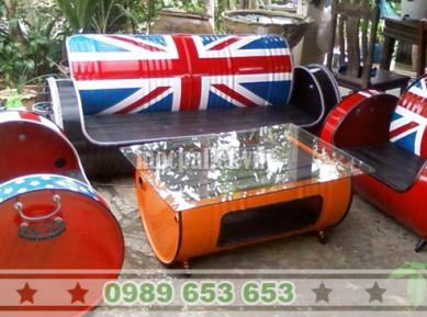 Bộ bàn ghế thùng phi sắt TP04