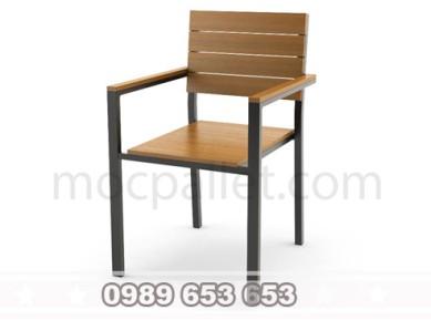 Ghế chân sắt mặt gỗ thông pallet GGS2