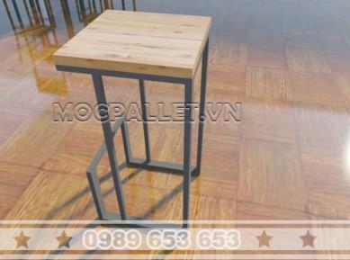 Ghế bar chân sắt mặt gỗ thông pallet GB14
