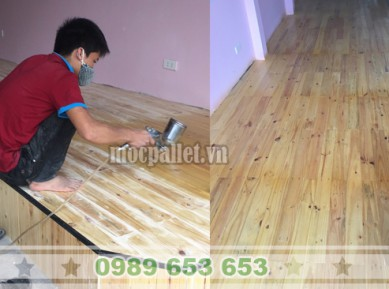 Thi công ốp sàn gỗ thông pallet tại Hà Nội