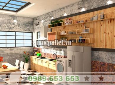 Tủ bếp gỗ thông pallet TB013