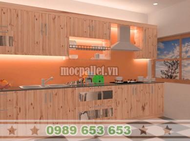 Tủ bếp gỗ thông pallet TB012