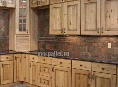Tủ bếp gỗ thông pallet đẹp TB01