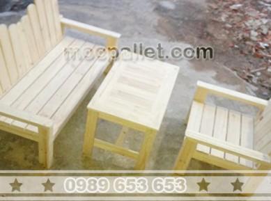 Bộ bàn ghế cafe gỗ thông pallet BG46