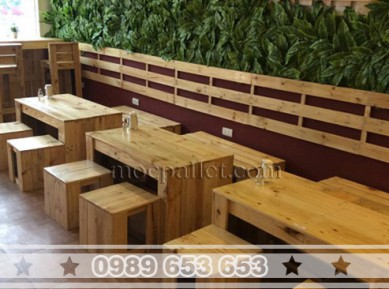Bộ bàn ghế cafe gỗ thông pallet BG39