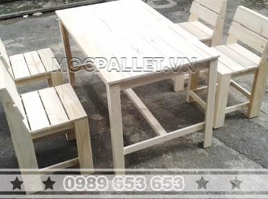 Bộ bàn ghế gỗ thông pallet BG35